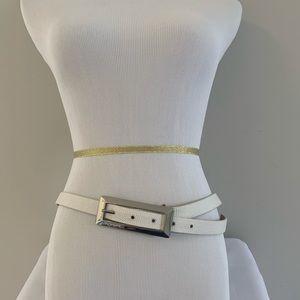 Etcetera Ivory Leather Belt - L